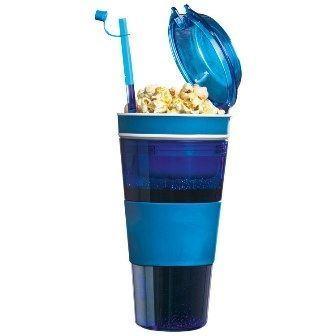 Obrázek Dvojkelímek na nápoj a svačinu - modrý