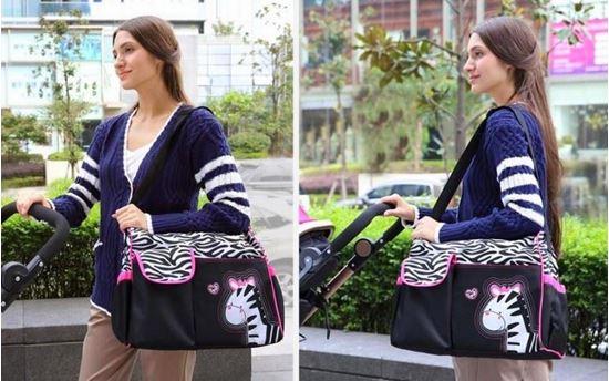 Obrázek z Taška pro maminky - růžová zebra