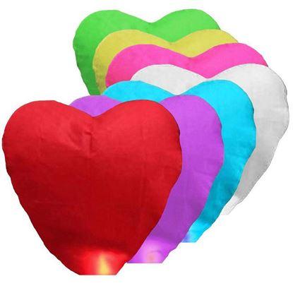 Obrázek Lampiony štěstí 10 kusů mix barev - tvar srdce