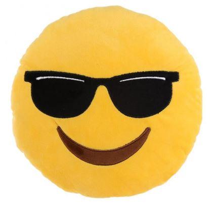 Obrázek Plyšový polštář smajlík - Se slunečními brýlemi