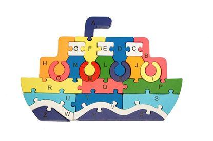 Obrázek Vzdělávací dřevěné puzzle - parník