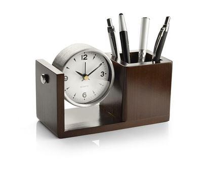 Obrázek Dřevěný stojan na tužky s hodinami