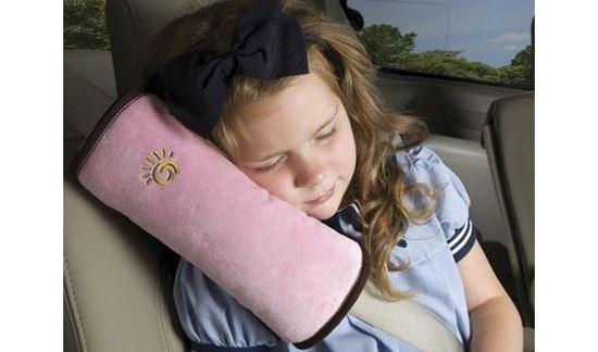 Obrázek z Cestovní polštář do auta na pás - růžový
