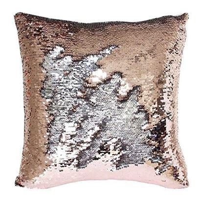 Obrázek Flitrový povlak na polštář - bronzovozlatý
