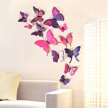 Obrázek 3D motýlci na zeď - fialová