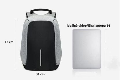 Obrázek Bezpečnostní batoh s USB nabíječkou - šedý
